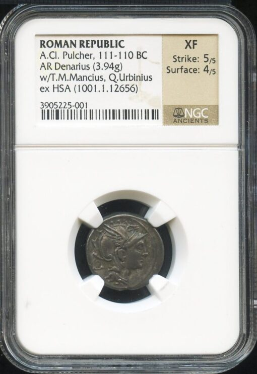 A CL PULCHER SILVER AR DENARIUS - EX ARCHER HUNTINGTON HSA / ANS COLLECTION - XF NGC GRADED ROMAN REPUBLICAN COIN (Inv. 8614)