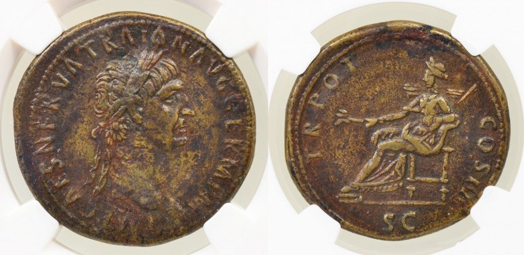 TRAJAN BRONZE SESTERTIUS - FIRST YEAR OF REIGN EMISSION EX ARCHER M HUNTINGTON COLLECTION - CHOICE VF NGC GRADED ROMAN IMPERIAL COIN (Inv. 8624)
