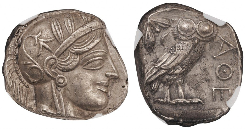 ATHENS SILVER TETRADRACHM - CLASSICAL PERIOD SPECIMEN NICELY STRUCK ON BROAD PLANCHET - CHOICE AU NGC GRADED GREEK ATTICA COIN (Inv. 8688)