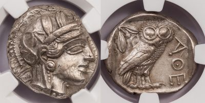 ATHENS SILVER OWL TETRADRACHM OF THE CLASSICAL PERIOD - AU NGC GRADED GREEK ATTICA COIN (Inv. 8690)