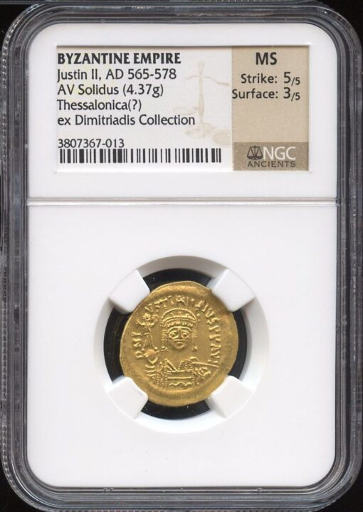 JUSTIN II GOLD AV SOLIDUS - RARE ISSUE FROM THESSALONICA - EX DIMITRIADIS COLLECTION - MINT STATE NGC GRADED BYZANTINE COIN (Inv. 9052)