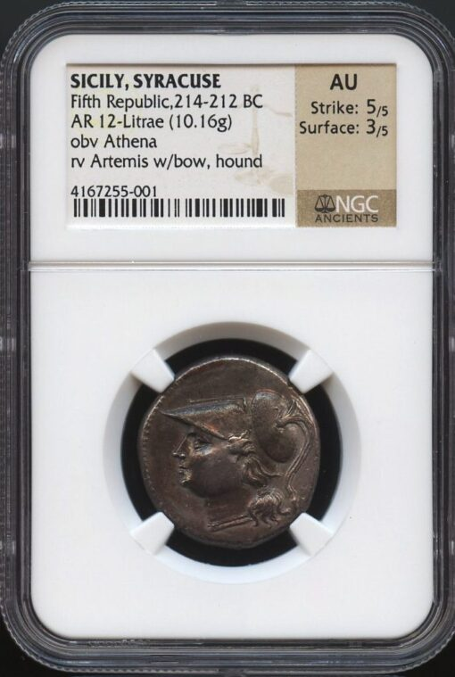 SYRACUSE FIFTH REPUBLIC SILVER 8 LITRAI - ATHENA & ARTEMIS TYPE SCARCE XAP VARIETY - AU NGC GRADED GREEK SICILY COIN (Inv. 9447)