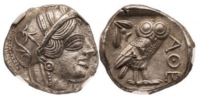 ATHENS SILVER TETRADRACHM - ISSUE OF THE HIGH CLASSICAL PERIOD 460-440 BC - CHOICE AU NGC GRADED GREEK ATTICA COIN (Inv. 9645)