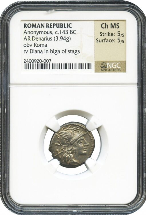 ANONYMOUS SILVER DENARIUS WITH DIANA IN STAG BIGA c. 143 BC - CHOICE MINT STATE NGC GRADED ROMAN REPUBLICAN COIN (Inv. 9676)
