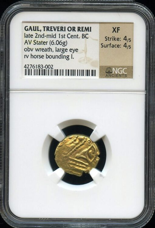 TREVERI OR REMI GOLD STATER - RARE PROFILE EYE TYPE - XF NGC GRADED GREEK CELTIC GAUL COIN (Inv. 9690)