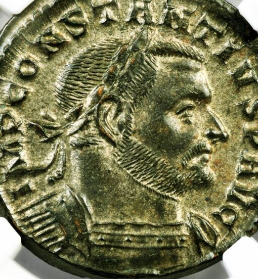 CONSTANTIUS I BILLON NUMMUS (FOLLIS) - SUPERB IMPERIAL PORTRAIT OF THE TETRARCHY - CHOICE MINT STATE NGC GRADED ROMAN IMPERIAL COIN (Inv. 9749)
