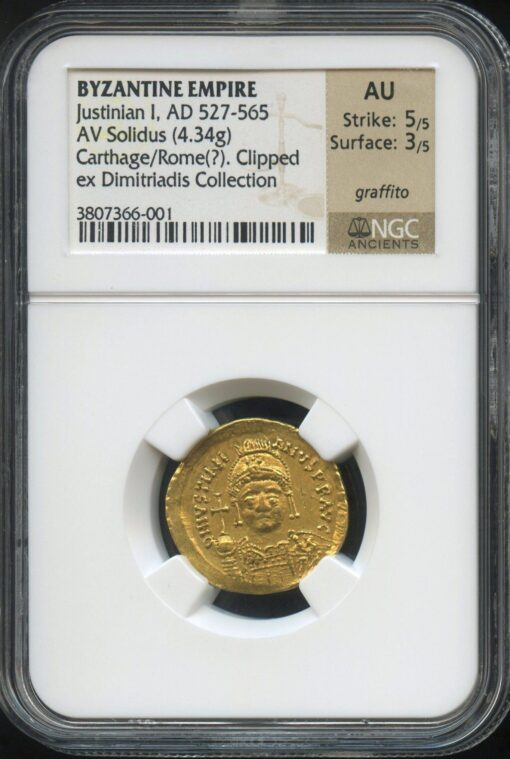 JUSTINIAN I GOLD SOLIDUS - RARE EMISSION FROM ROME WITH 1980s PROVENANCE - AU NGC GRADED BYZANTINE COIN (Inv. 9769)
