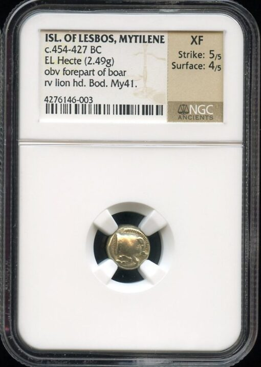 MYTILENE ELECTRUM EL HECTE ( HEKTE ) WITH BOAR FOREPART AND LION - XF NGC GRADED GREEK LESBOS COIN (Inv. 9788)