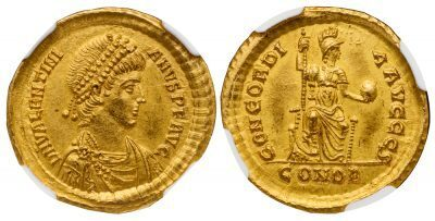 VALENTINIAN II GOLD SOLIDUS - SUPERB ISSUE FROM CONSTANTINOPLE OFFICINA S - MINT STATE STAR NGC GRADED COIN (Inv. 9859)
