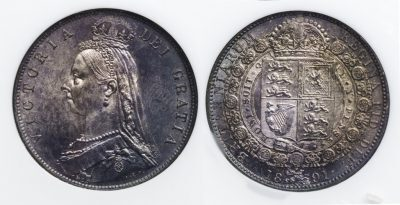 GREAT BRITAIN ENGLAND - QUEEN VICTORIA - 1/2 CROWN 1891 - NGC MS 63 BEAUTIFULLY IRIDESCENT COIN (Inv. 9985)