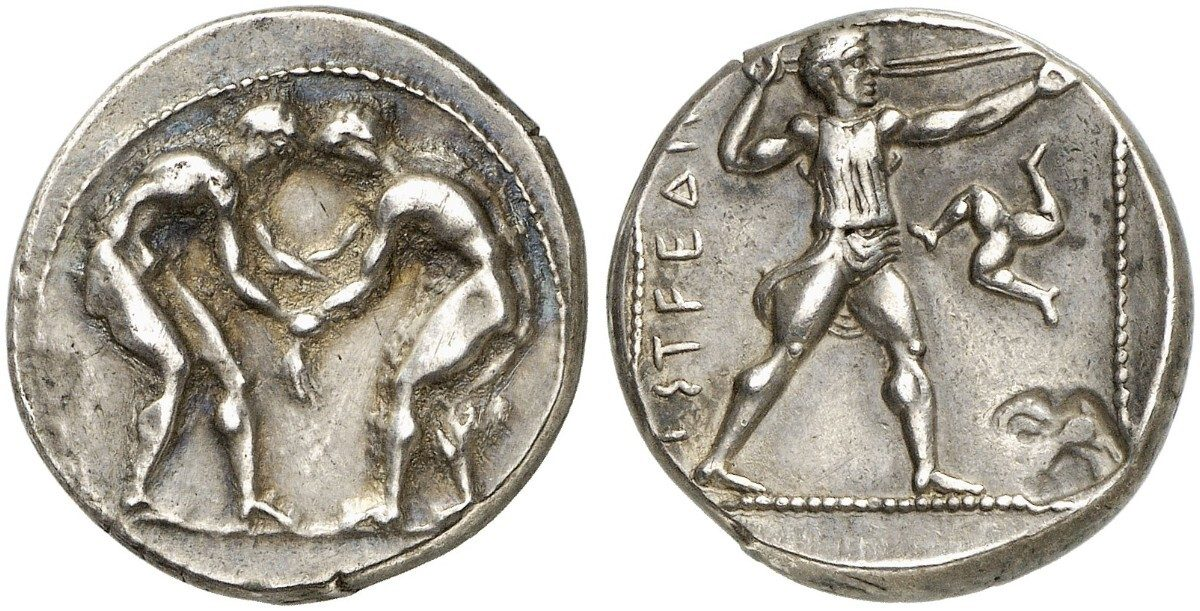 Choice gVF Aspendos Pamphylia Silver Stater Wrestlers