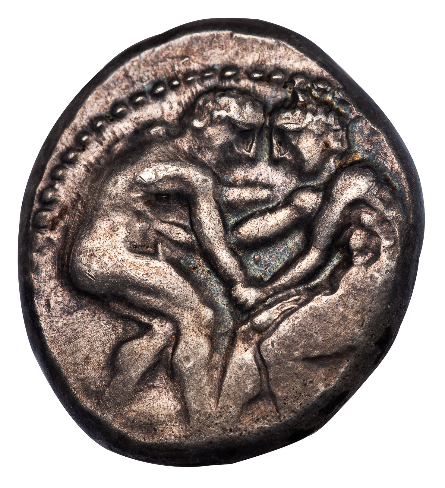 Pamphylia Aspendus wrestlers AR Stater NGC Ancients Choice
