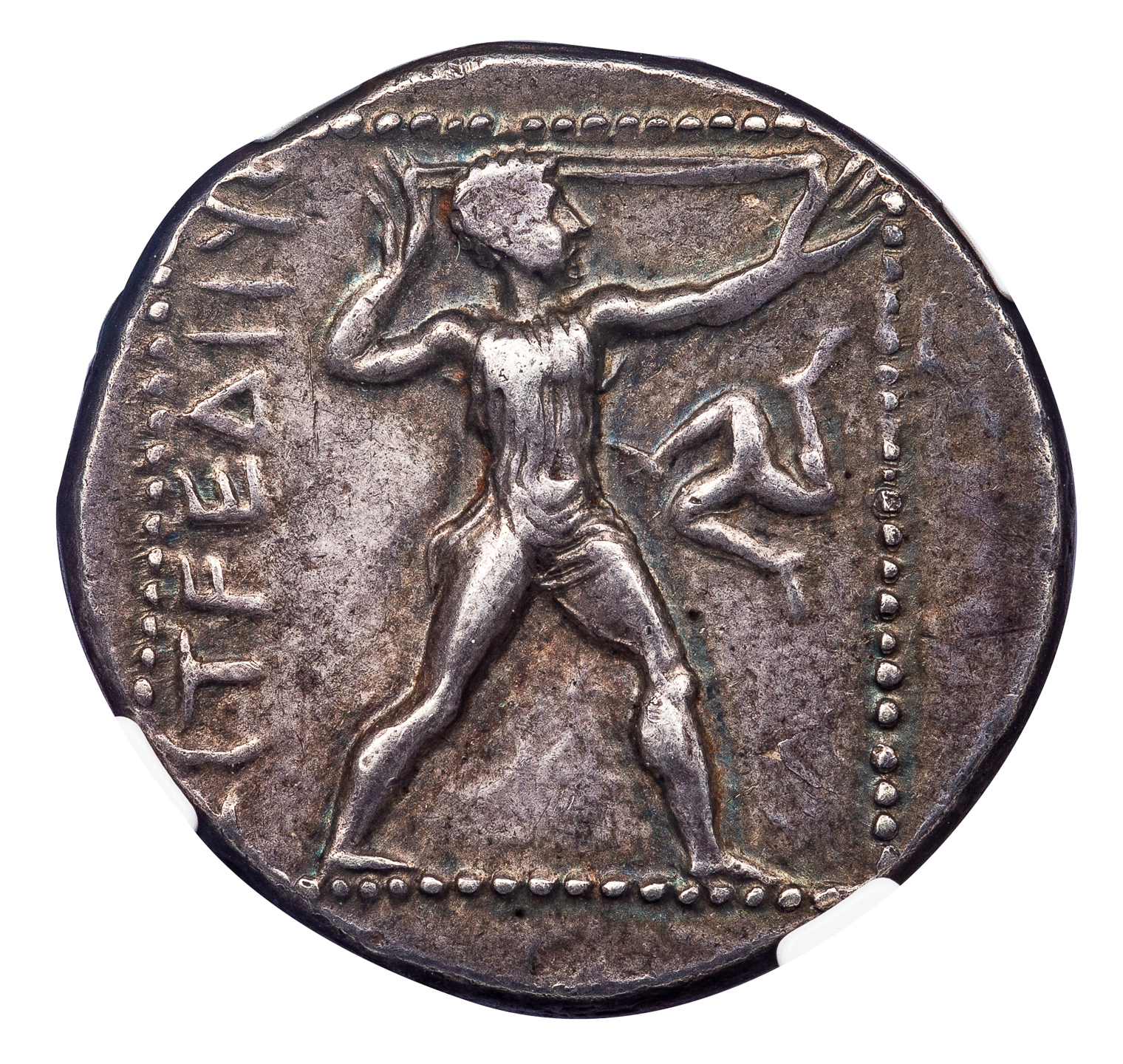 ASPENDOS SILVER STATER - COUNTERMARKED EXAMPLE OF